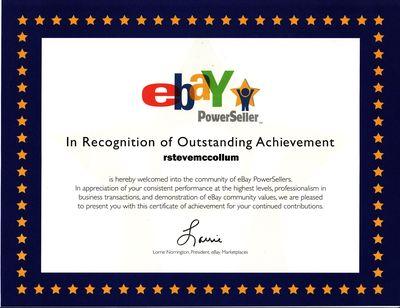R. Steve McCollum eBay PowerSeller Certificate